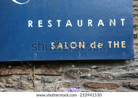 storefront of traditional french restaurant - stock photo