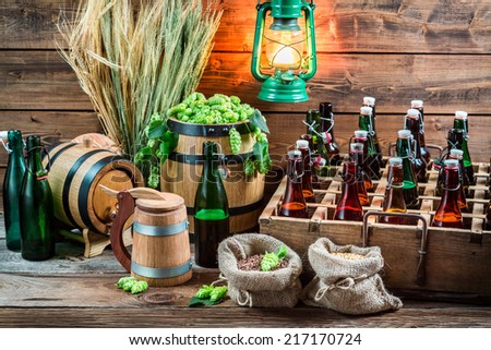 Storeroom with homemade beer in the cellar - stock photo
