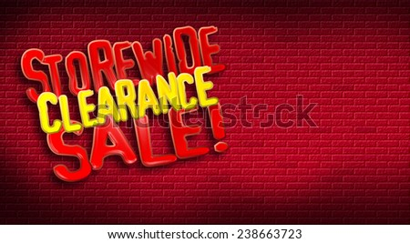 Storewide Clearance Sale logo on brick background. Designed for use as postcard promoting January or After Christmas Sale for a retail establishment.