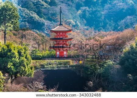 Storey of the pagoda in garden of Miyajima in Japan - stock photo