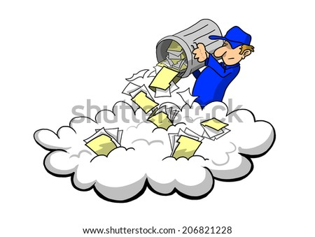 Storing junk in the cloud - stock photo
