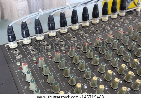 Storing the order page headers XLR Mixer. - stock photo
