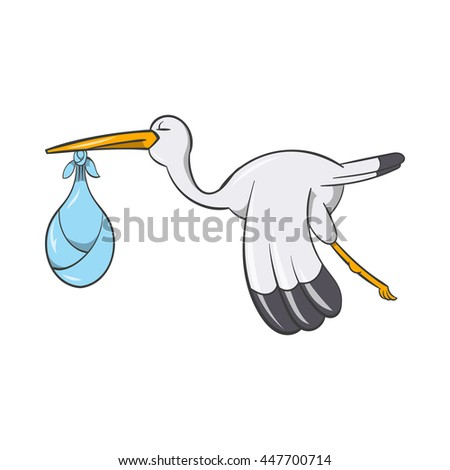 Stork with baby icon in cartoon style isolated on white background. Newborn symbol - stock photo