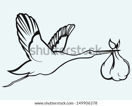 Stork with baby isolated on blue background. Raster version - stock photo
