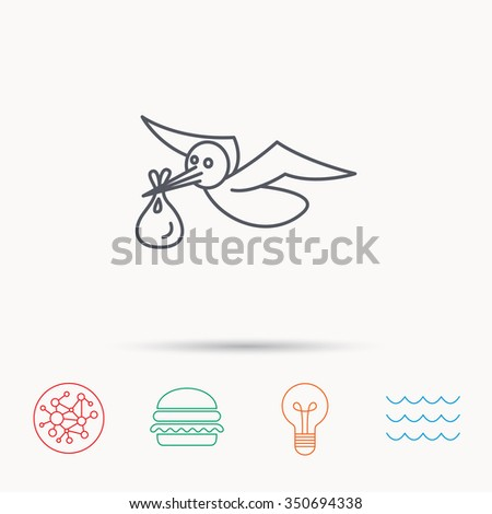 Stork with sack icon. Newborn baby symbol. Global connect network, ocean wave and burger icons. Lightbulb lamp symbol. - stock photo