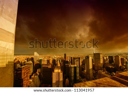 Storm above Manhattan Skyscrapers, New York City