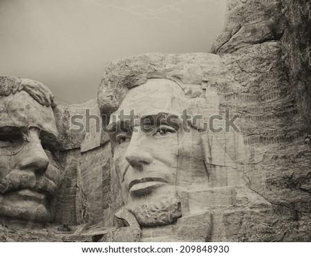 Storm above Mount Rushmore - South Dakota. - stock photo