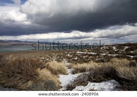 Storm and Clouds Mono Lake California - stock photo