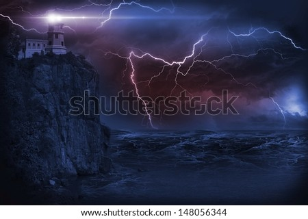 Storm and Lighthouse Illustration. Heavy Storm at NIght and Lighthouse on the Rock.  - stock photo