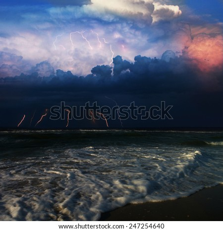 storm and  lightning in the sea - stock photo
