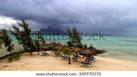 Storm at the beautiful tropical paradise island, Mauritius - stock photo