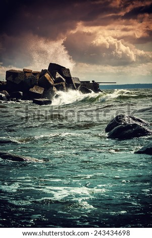 Storm at the sea - stock photo