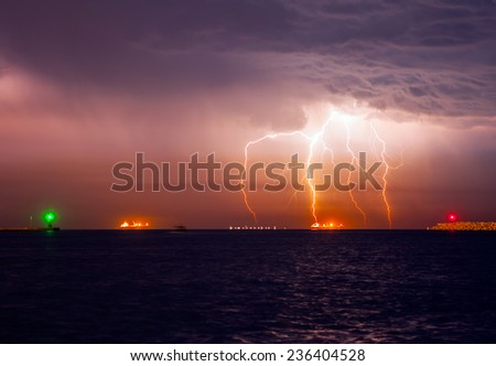 storm beginning with lightning (lung)  - stock photo
