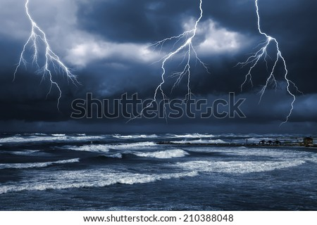 Storm by the sea  - stock photo