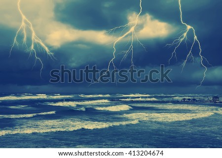 Storm by the sea. Toned colors vintage image - stock photo