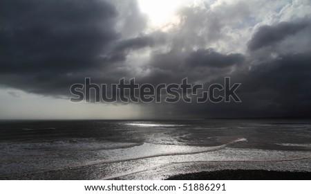 Storm clouds along the Atlantic coast - stock photo