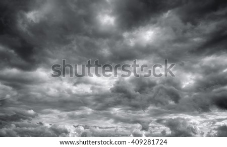 Storm clouds before a thunderstorm. Cloudy sky over horizon. - stock photo