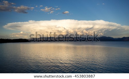 Storm Clouds Brew Over Yellowstone Lake Absaroka Mountains