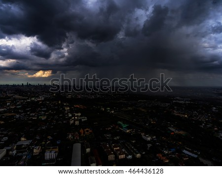 Storm clouds in the sky in the city in Bangkok,Thailand.