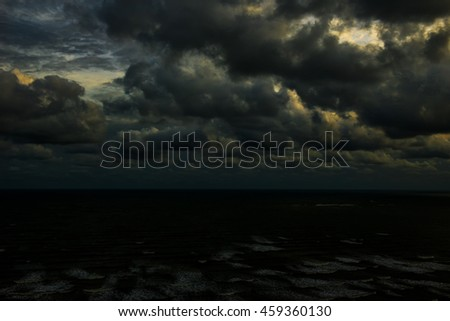 Storm clouds in the sky in the sea.clouds nature.sky nature. sea nature. - stock photo