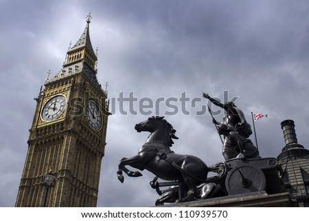 Storm clouds on Westminster - stock photo