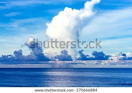 Storm clouds over beautiful bay - stock photo