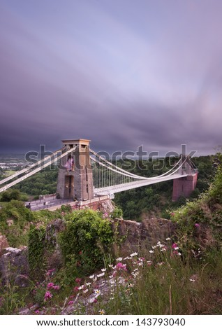 Storm clouds over Clifton Suspension Bridge, Bristol, England, UK. - stock photo