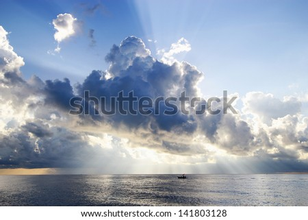 Storm clouds over horizon - stock photo