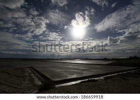 Storm clouds over horizon - stock photo