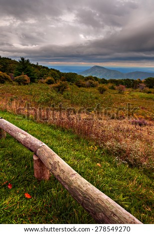 Storm clouds over Old Rag Mountain, seen from Skyline Drive in Shenandoah National Park, Virginia. - stock photo