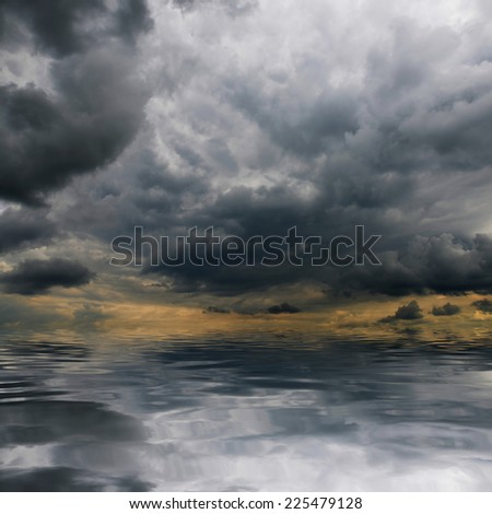 Storm clouds over sea. Natural background. Forces of nature concept.  - stock photo