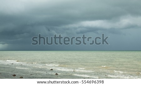 Storm clouds over the sea - Kep beach, Cambodia, Asia.