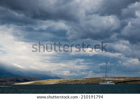 Storm clouds over the sea, the island of Pag, Croatia, Europe