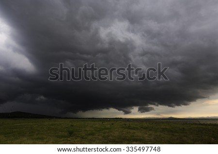 Storm clouds with the rain - stock photo