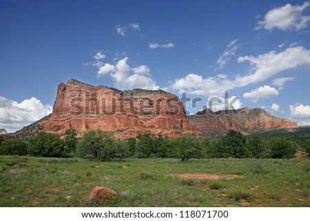 Storm forming over red rock country Sedona, Arizona, USA - Landscape - stock photo