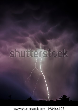 Storm front with strong lightning