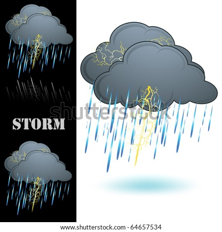 Storm icon isolated on white - stock photo