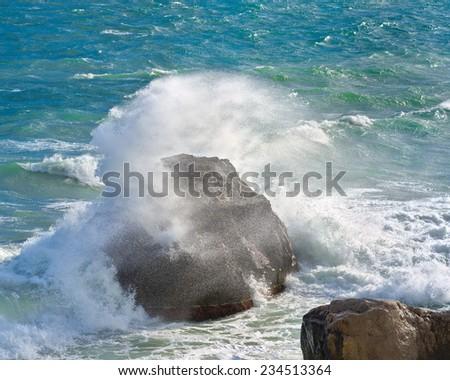 Storm in Black sea. Coast of Crimea - stock photo