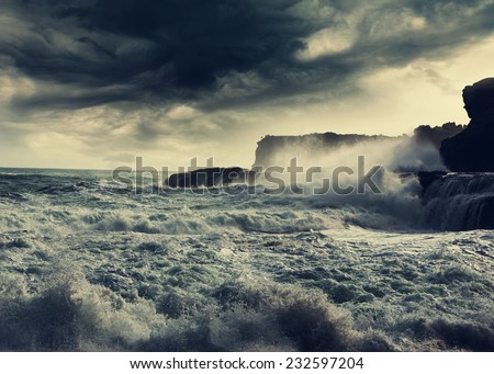 storm in  ocean beach,Indonesia - stock photo