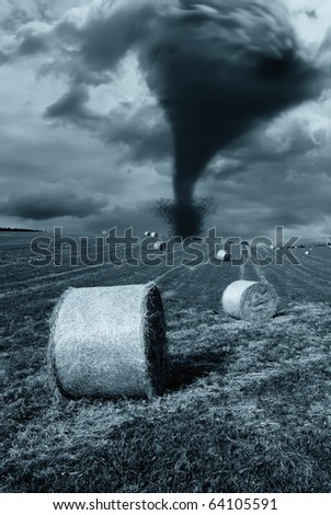 storm incoming from the horizon - stock photo