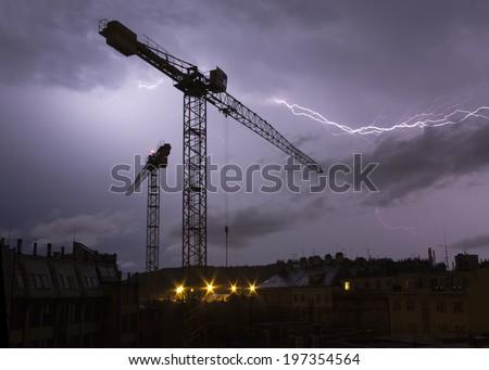 storm - lightnings above city - stock photo