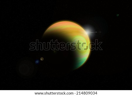 Storm on giant gas planet - stock photo