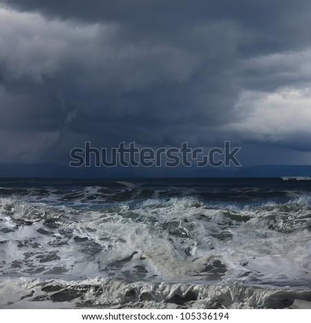 storm on ocean - stock photo