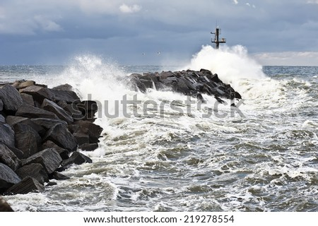 Storm on pier  - stock photo