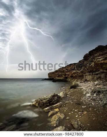 storm on sea - stock photo