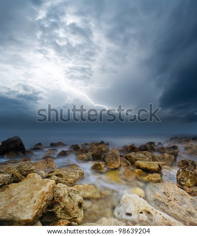 storm on sea - stock photo