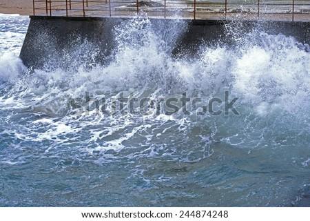storm on sea near the city of Sevastopol - stock photo