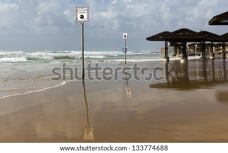 Storm on the beach in Haifa Israel