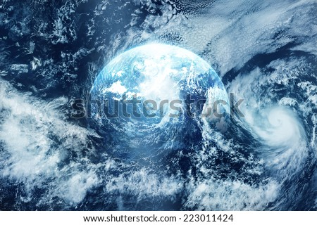 Storm on the earth, view from space, Original image free from public domain www.NASA.gov - stock photo