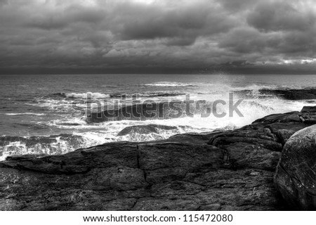 Storm on the horizon along the coast of Nova Scotia - stock photo